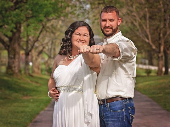 Mr. and Mrs. Johnathan Kelley on their wedding day