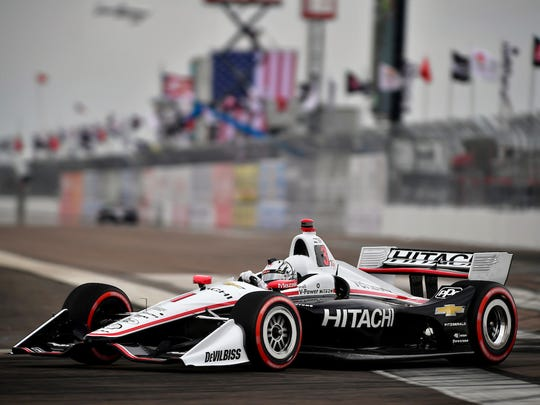 Josef Newgarden races the new car in the 2018 season opener in St. Pete.