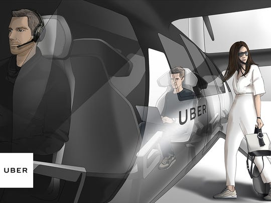 This is a rendering of Uber's VTOL concept., flying car, an electric vertical take-off and landing vehicle. (eVTOL)