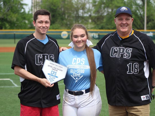 Walnut Hills Reiley Schmidt won the softball home run derby with 20 points in the final round. The senior hit .439 with 14 RBI and six extra-base hits for the Eagles in 2018.