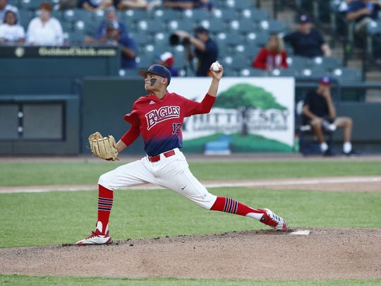 Veterans Memorial's Jo Jo Villareal throws a pitch during the first inning of the 5A State Baseball Semifinal against Forney at Dell Diamond in Round Rock on Thursday, June 7, 2018.