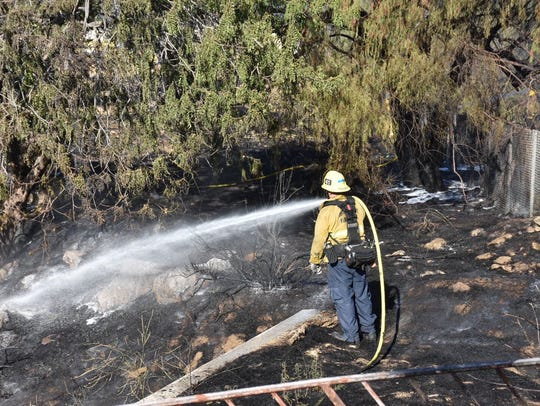 Ventura County fire crews knocked down a fireworks-caused
