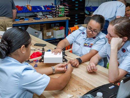Civil Air Patrol cadets work in the Unmanned Aerial