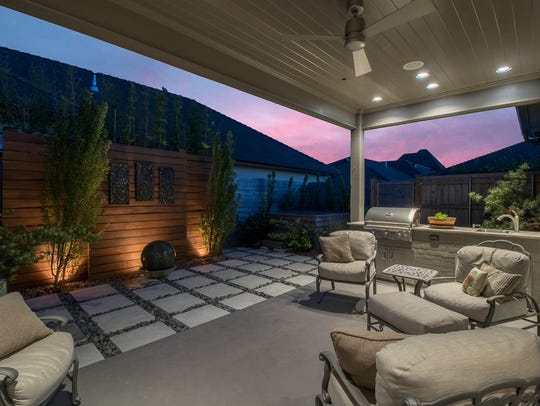 There are beautiful outdoor spaces for entertaining.