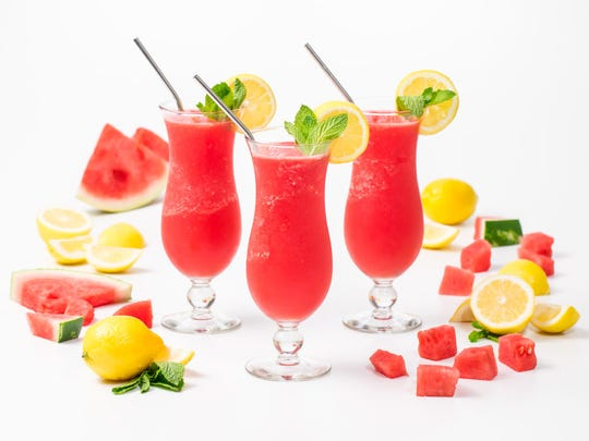 Watermelon rum lemonade slushie