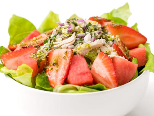 Strawberry watermelon chicken salad