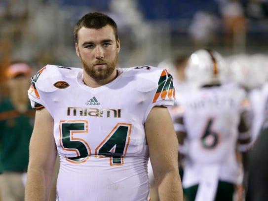Miami center Hunter Knighton had a temperature of 109