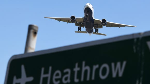 A plane comes into land at London's Heathrow Airport