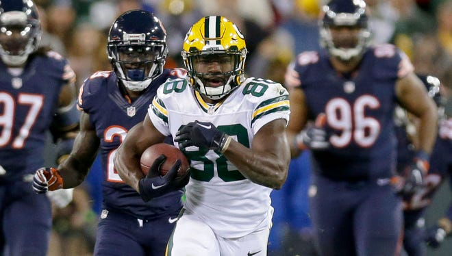 The Packers' Ty Montgomery made the transition to running back from receiver last year.