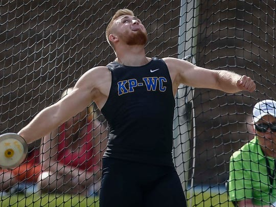 KP-WC's Nick Phelps throws the discus during 2A competition during the Iowa High School Track and Field Championships at Drake Stadium Friday, May 18, 2018, at Drake Stadium in Des Moines.