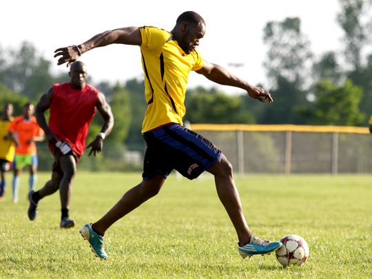 Mohamed Diakite, 35, plays with Mauritania during a