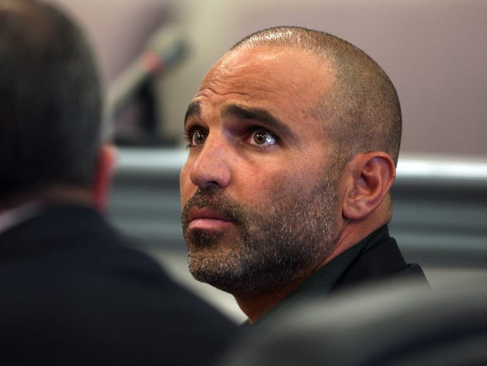 Joe Gorga of Real Housewives of New Jersey fame in Morris County Superior Court with wife Melissa trying to evict tenant Kai Patterson from their Montville home. August 15, 2014, Morristown, NJ. Photo by Bob Karp