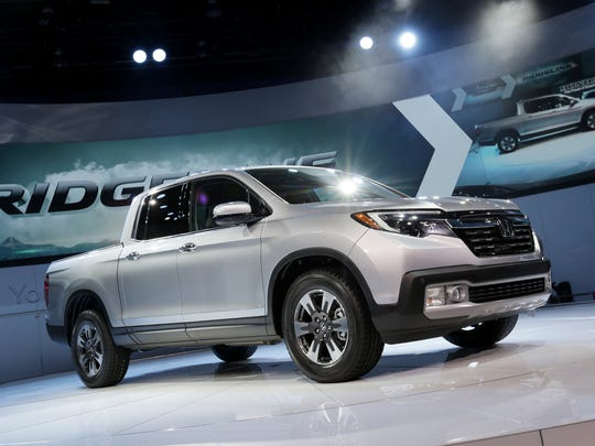The 2017 Honda Ridgeline RTL- E is introduced during the 2016 North American International Auto Show held at Cobo Center Jan. 11, 2016.