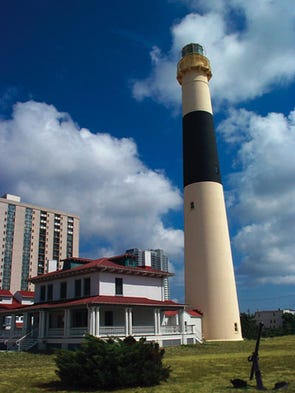 In 1857, the Absecon Lighthouse in Atlantic City was first lighted. It was decommissioned in 1933. On Dec. 31, 1963, it was re-illuminated at midnight to symbolize the beginning of New Jersey's tercentenary.