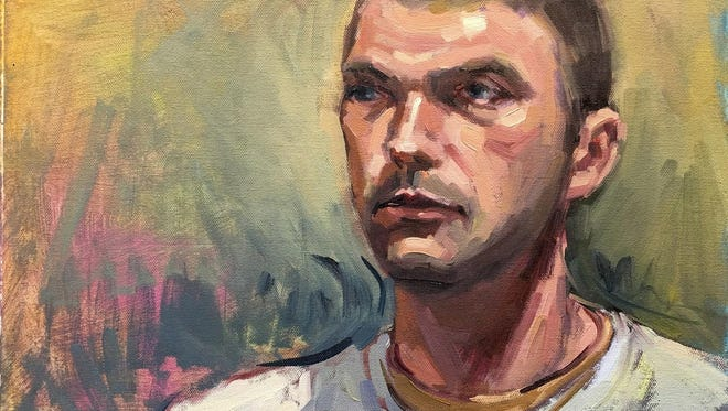 """""""Serious Guy,"""" oil on panel by Shelby Keefe, part of the seventh annual Door Prize for Portraiture exhibit at the Miller Art Museum."""