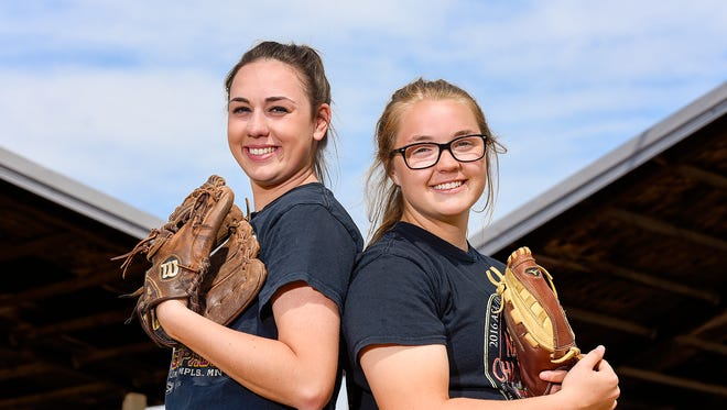Becker softball pitchers Brianna Corey and Corrie Weise are this weeks Times Media Prep Athletes of the Week shown at practice Wednesday, May 10, in Becker.