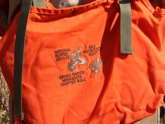 A hunting vest bears the logo of the National Ruffed Grouse and Woodcock Hunt held annually in Grand Rapids, Minn.