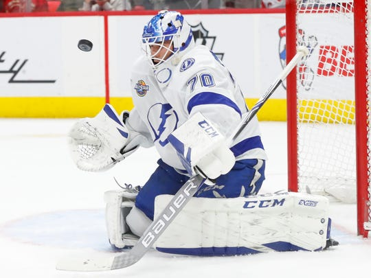 Former Coyotes goaltender Louis Domingue now serves as a backup with the Tampa Bay Lightning.