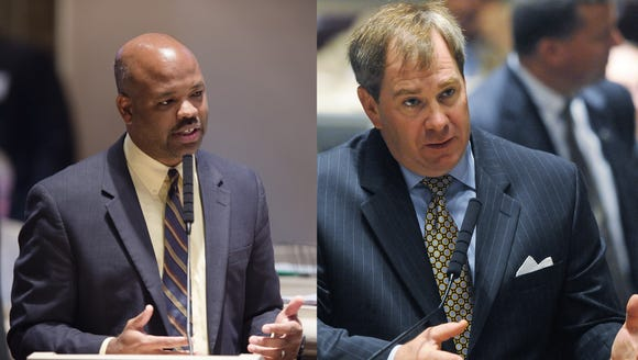 Reps. Chris England, D-Tuscaloosa (left) and Craig