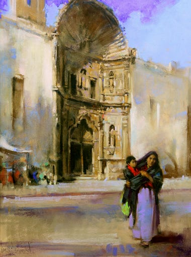 "Harley Brown, ""Mother and Child in San Miguel,"" pastel;"