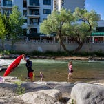 Lots of people go to the Riverwalk District to enjoy the benefits of the Truckee River in downtown Reno.