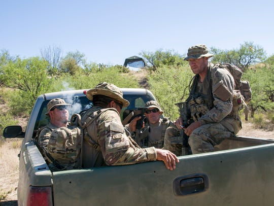 Volunteers from Arizona Border Recon patrol the U.S.-Mexico border near Sasabe, Arizona.  Some Californians are working to relaunch the Minuteman patrol movement.