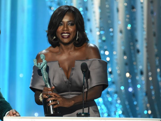 Viola Davis accepts the award for Outstanding Female