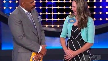 Host Steve Harvey and Anna Sass on 'Family Feud.'
