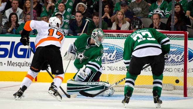 The Flyers' first win this season came against the Dallas Stars.