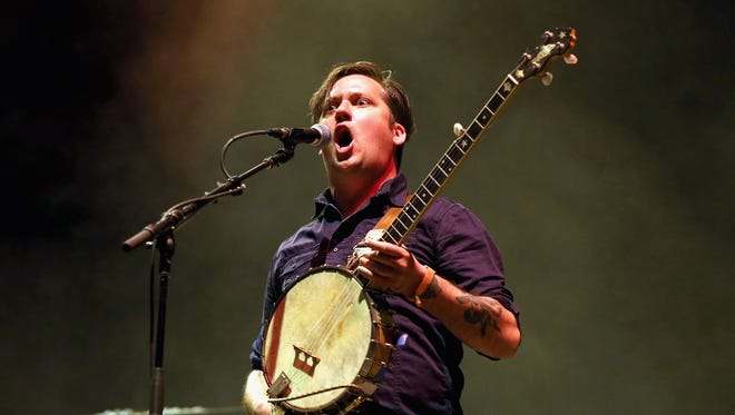 Isaac Brock of Modest Mouse performs onstage during day 1 of the 2013 Coachella Valley Music & Arts Festival at the Empire Polo Club.