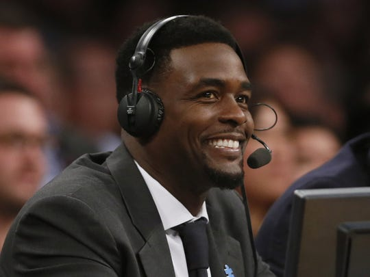 TNT commentator Chris Webber smiles during a game between
