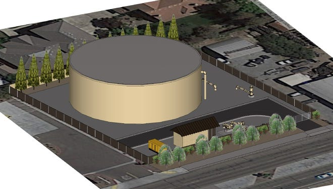 A rendition of the water tank planned to be built in Tulare.