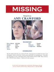 Missing person alert for Amy Marie Crawford.