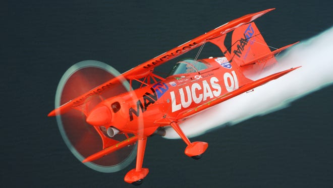 The Lucas Pitts biplane is one of the featured performers for the OC Air Show on June 18-19, 2016 in Ocean City Maryland.