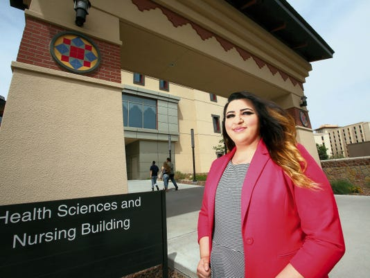 Rudy Gutierrez—El Paso Times Courtney Adcox, an Irvin High School graduate, will receive her master's degree in social work from UTEP Saturday. Adcox earned her bachelor's degree in anthropology from UTEP in 2012.