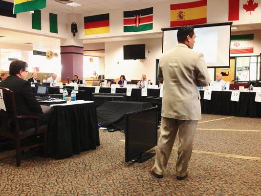 Sen. Howie Morales welcomes members of the Interim Water and Natural Resources Committee to Silver City on Monday morning.