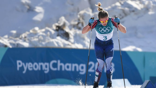 Jessie Diggins skis in the women's 30K classic style cross country event during the Pyeongchang 2018 Olympic Winter Games at Alpensia Cross-Country Centre on Feb. 25.