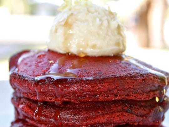 The red velvet pancakes with mascarpone creme and Grand Marnier syrup from The Herb Box in Scottsdale.