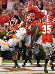 Tennessee wide receiver Jauan Jennings (15) comes down with winning touchdown in their 34-31 win over Georgia at Sanford Stadium Saturday, Oct. 1, 2016 in Athens, Ga. (MICHAEL PATRICK/NEWS SENTINEL)