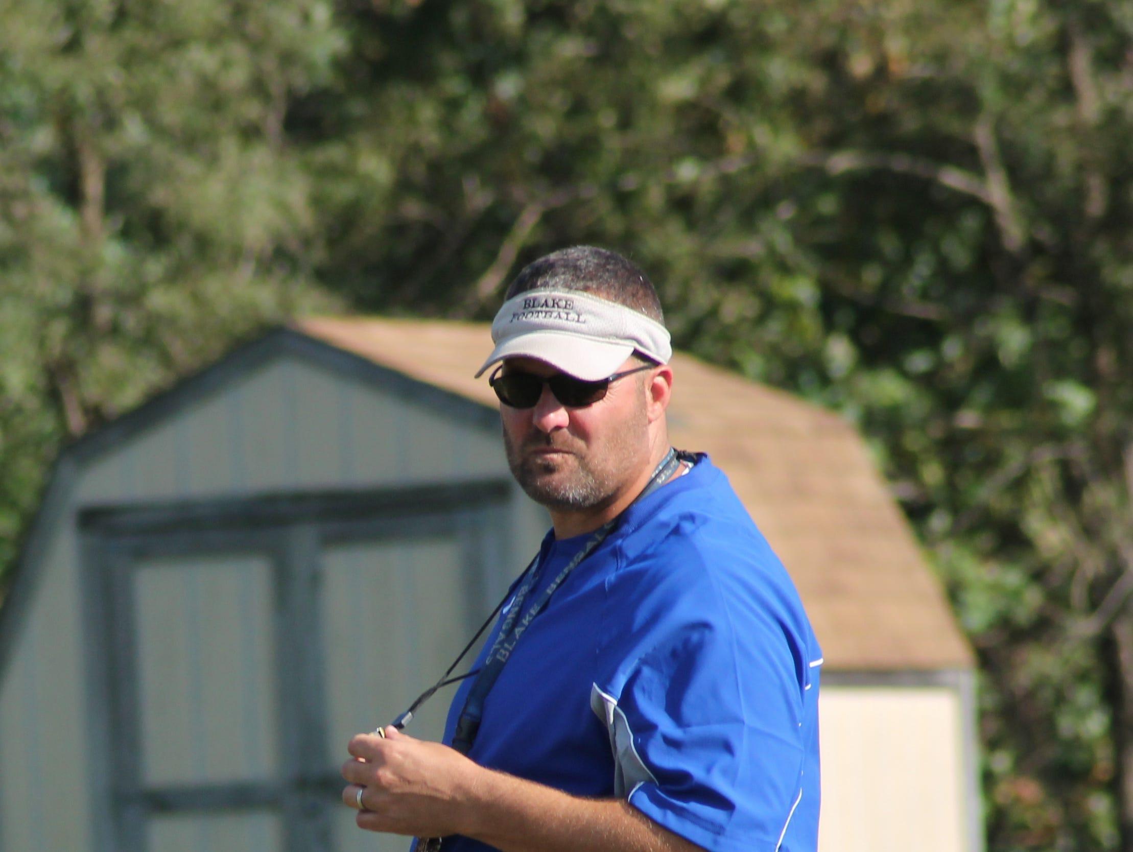 Blake head football coach Tony Nazzaro oversees football practice.