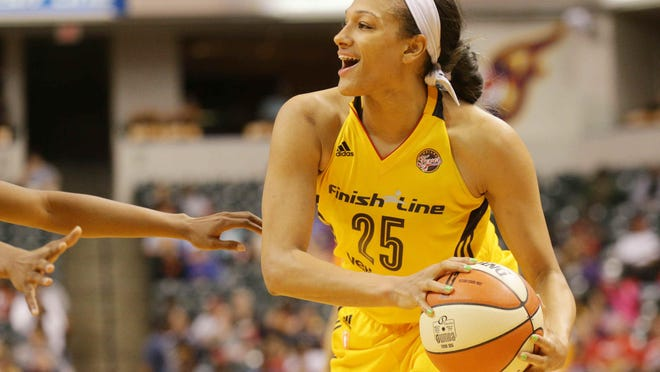 Marissa Coleman looks to pass as the Indiana Fever played the Atlanta Dream at Bankers Life Fieldhouse on May 20.