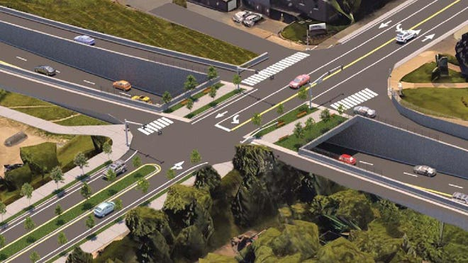 This rendering shows an updated option to reconfigure the State Street/Bayfront Parkway intersection. Several options are currently under consideration by PennDOT, which has already held a number of public sessions on project.