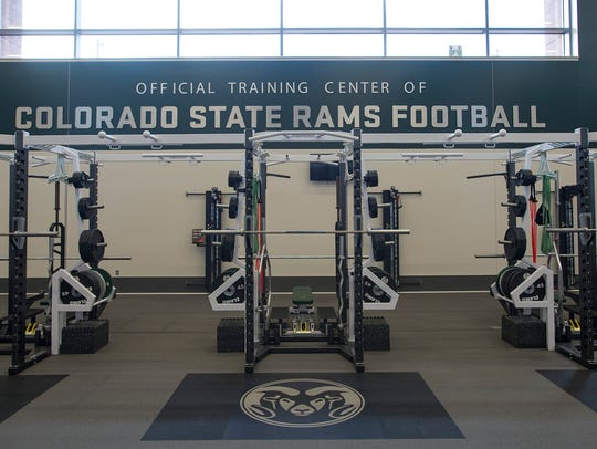 Light shines into the weight room during a tour of