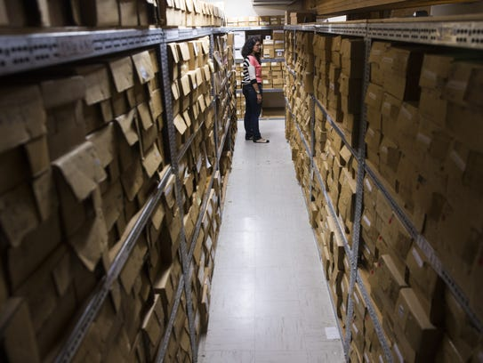 Each box stored at the Maxwell Museum of Anthropology