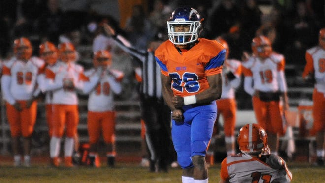 Millville running back Clayton Scott reacts after a play during last week's S.J. Group 5 playoff victory over Cherokee.