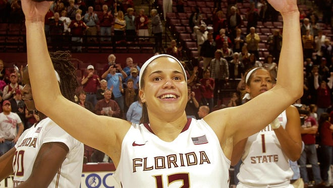 Florida State Seminoles guard Brittany Brown (12) celebrates after the game against the Louisville Cardinals at the Tucker Center (Tallahassee). The Florida State Seminoles upset #4 Louisville 68-63.