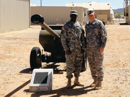Command Sgt. Maj. Roderick Marshall, left, and Lt. Col. Cobb Laslie are the command team for the 2nd Battalion, 362nd Field Artillery Regiment.