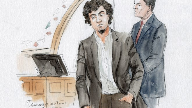 It this courtroom sketch, Dzhokhar Tsarnaev enters the courtroom on the first day of the federal death penalty trial of Boston Marathon bombing suspect Dzhokhar Tsarnaev, Wednesday, March 4, 2015, in Boston. [Via MerlinFTP Drop]