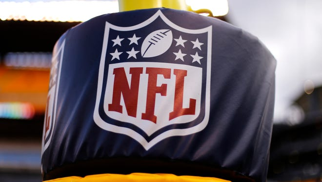 This is the NFL logo on a goal post pad at Heinz Field before an NFL football game between the Pittsburgh Steelers and the Cincinnati Bengals in Pittsburgh, Sunday, Nov. 1, 2015.