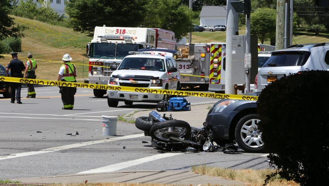 Two people died in a crash on a motorcycle Monday, July 11, 2016, in Perinton.